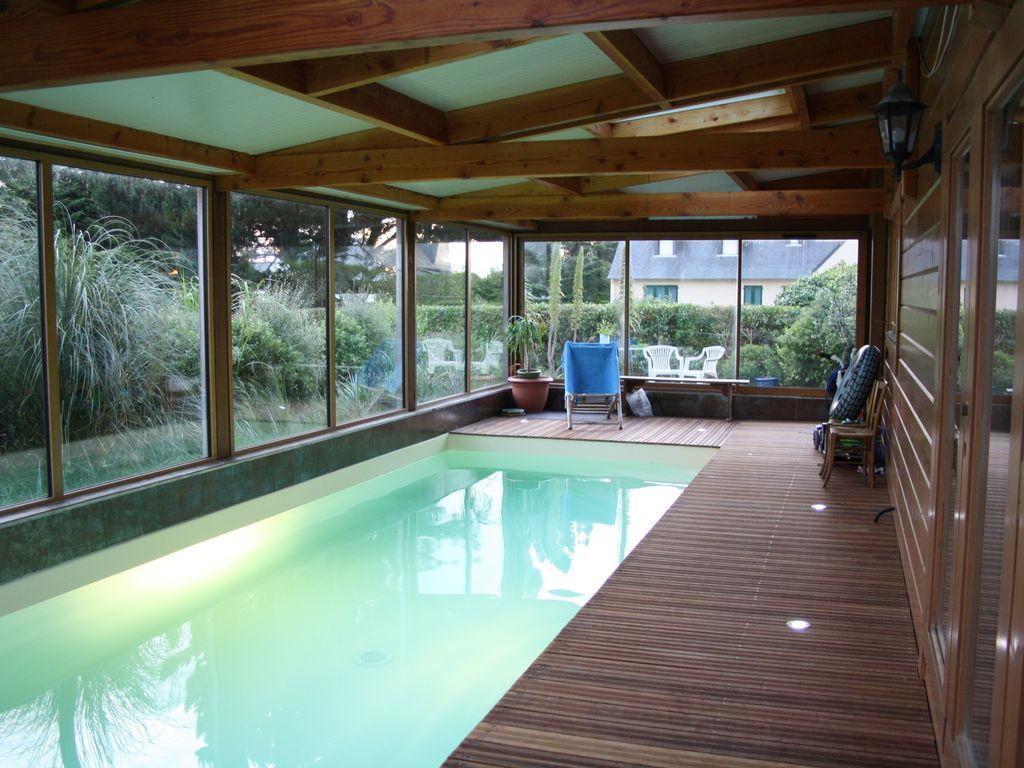 Les Villas D'onalou Port Blanc ,grande Et Chaleureuse Maison En Bois  Piscine - Penvénan concernant Piscine Intérieure Maison