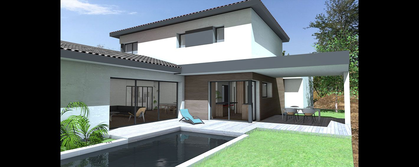 Maison Contemporaine À Étage Partiel   Maison Contemporaine ... avec Maison Avec Terrasse Couverte