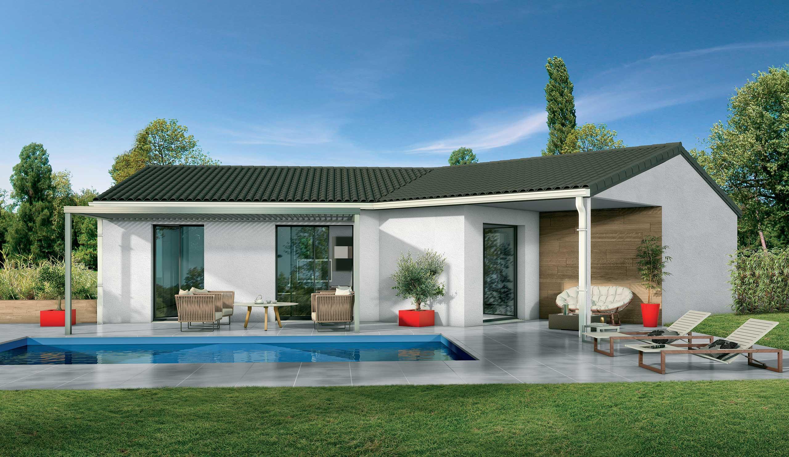 Maison Contemporaine Plain-Pied Ébène Avec Plans - Demeures ... encequiconcerne Maison Avec Terrasse Couverte