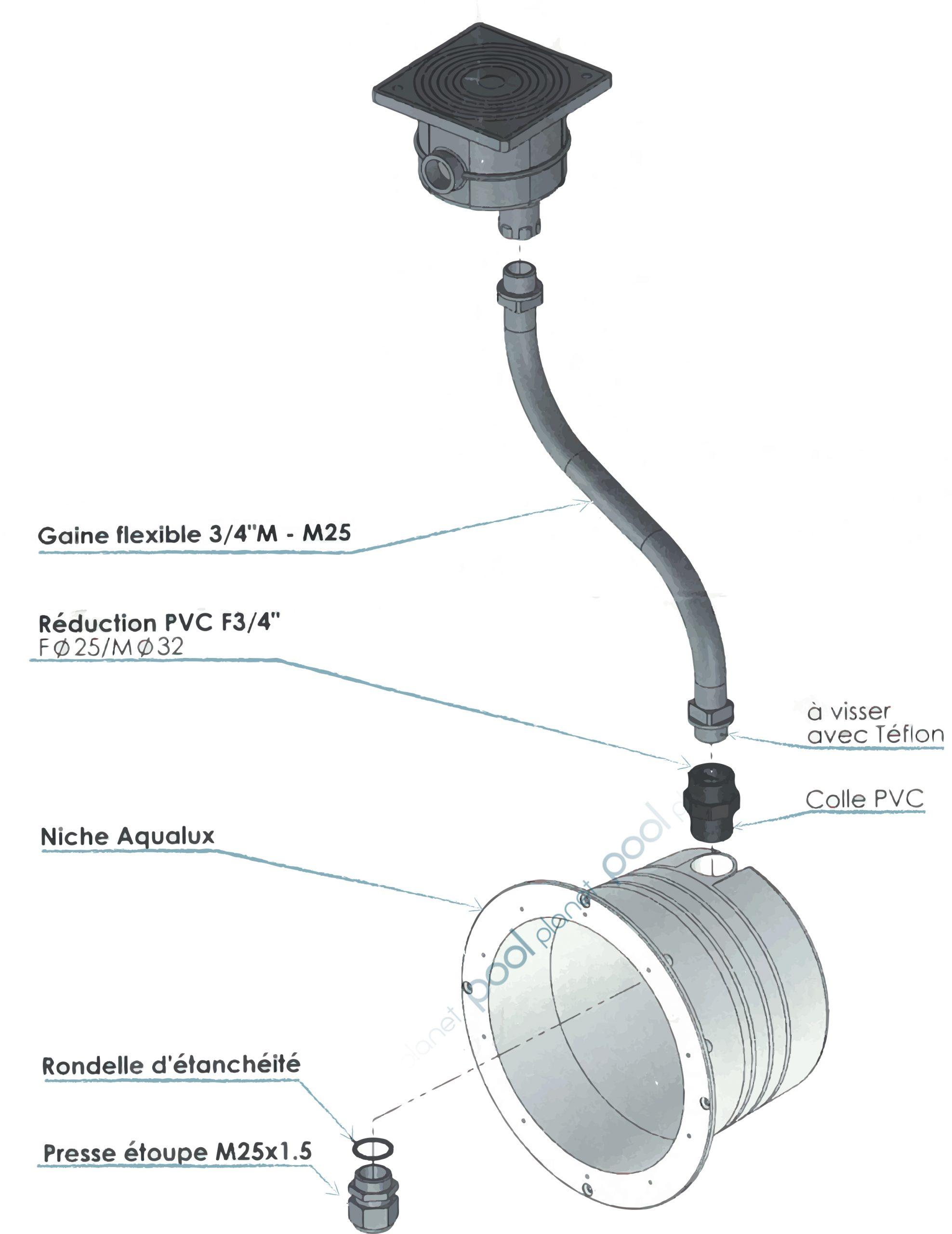 Niche Aqualux Par 56 Pour Revêtement En Liner avec Projecteur Led Piscine Par 56