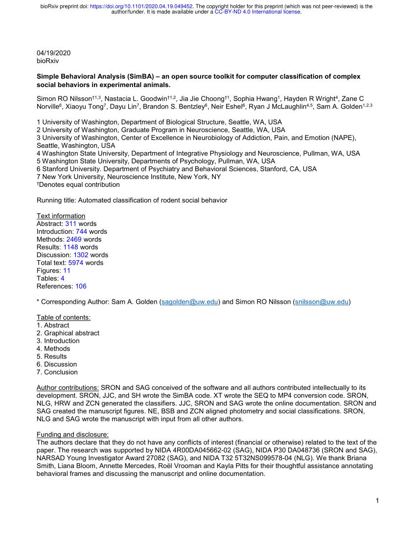 Pdf) Simple Behavioral Analysis (Simba): An Open Source ... tout Code Reduction Simba