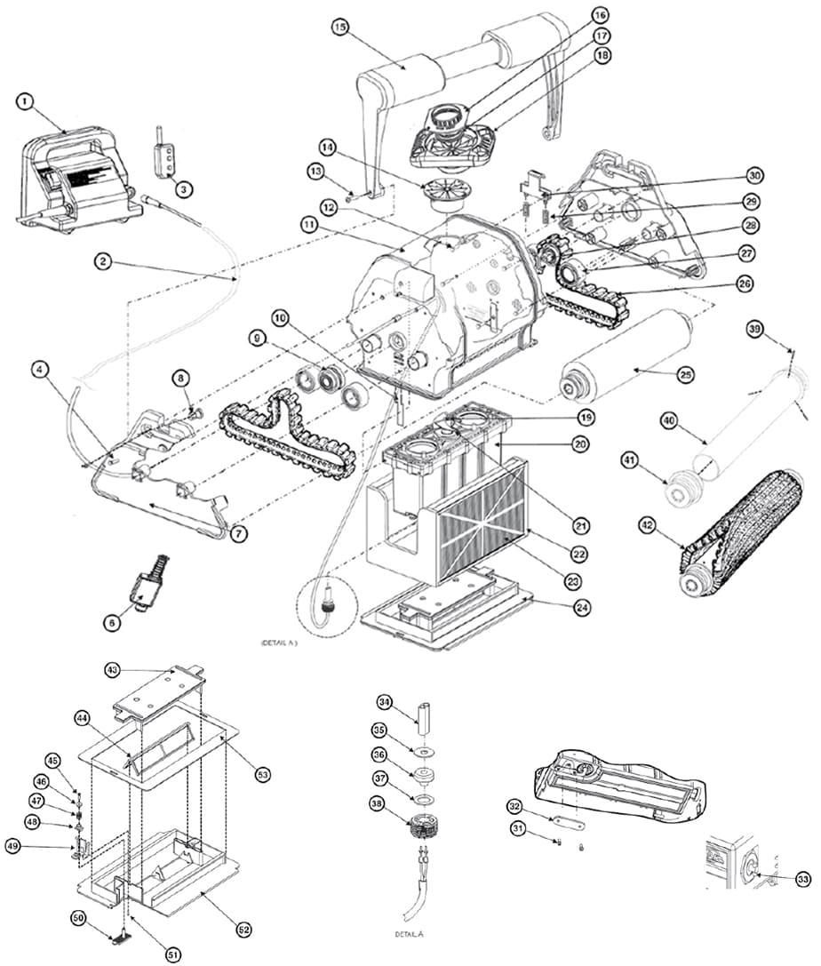 Pièces Détachées Pour Robot De Piscine Tigershark Hayward destiné Gre Piscine Pieces Detachees