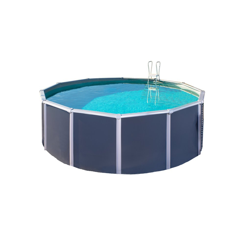 Piscine Hors-Sol Acier Diamètre 3,90 M Anthracite - Osmose destiné Destockage Piscine Hors Sol