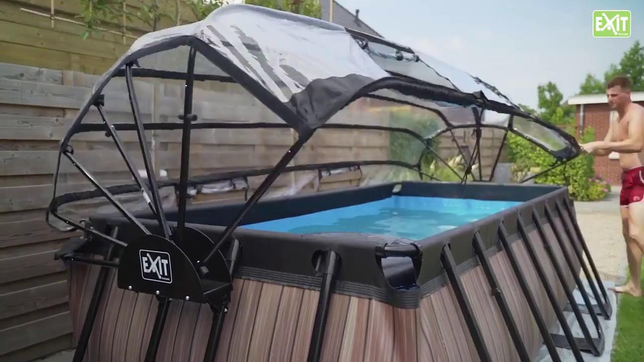 Piscine Hors-Sol Tubulaire Rectangulaire Exit Toys 4 X 2 M Et Dôme De  Protection encequiconcerne Piscine Hors Sol Tubulaire Intex