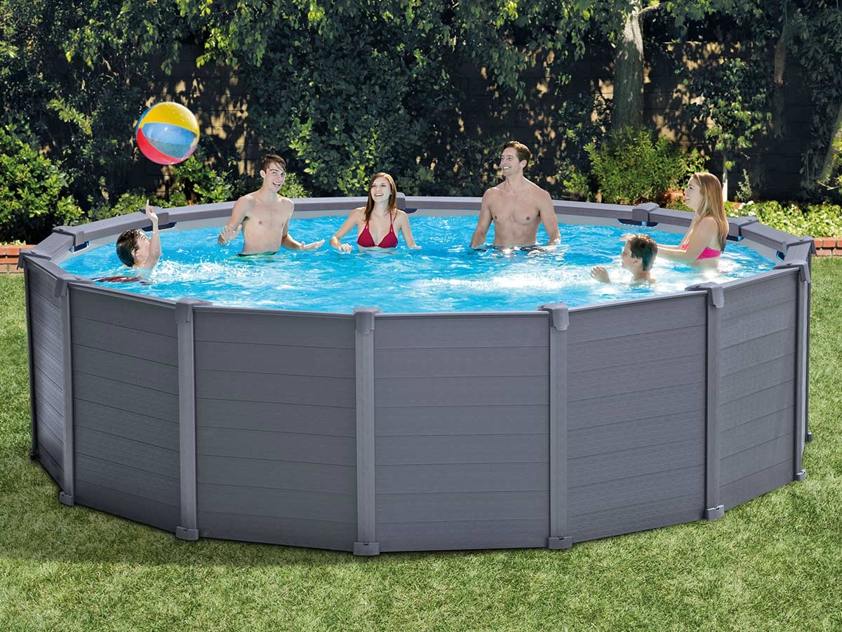 Piscine Tubulaire Graphite Ronde 4,17 X 1,09 M - Intex tout Piscine Tubulaire Ronde Intex