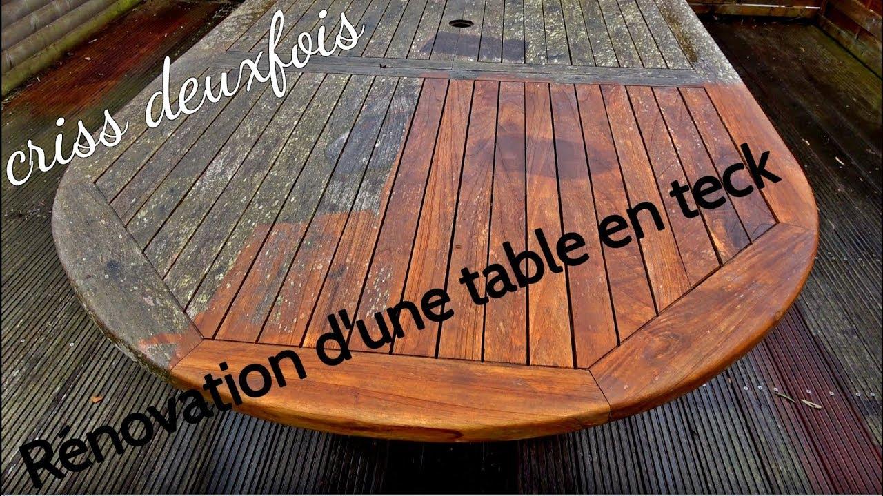Rénover Une Table De Jardin En Teck ; Sans Produit ; Exterieur ; Bretagne ;  France encequiconcerne Peindre Un Salon De Jardin En Bois Exotique