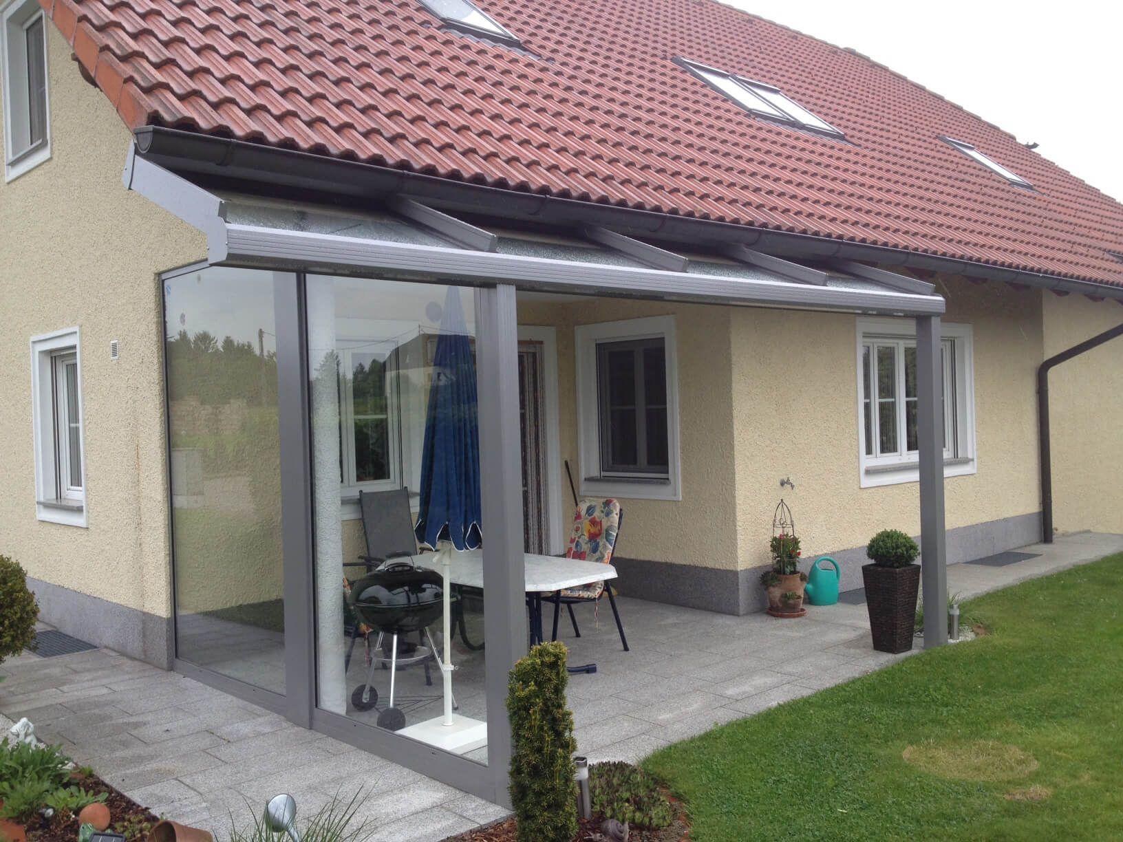 Seitlicher Windschutz Mit Überdachung Für Terrasse & Balkon ... dedans Terrasse Couverte Fermée