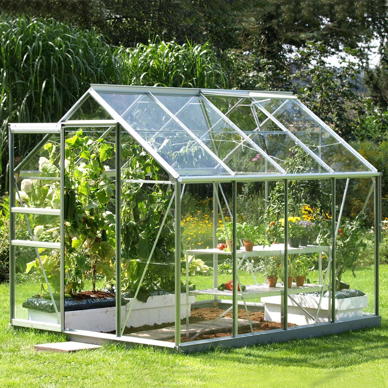 Serre De Jardin En Verre Trempé Allium Venus 5,00 M². Aluminium Naturel -  855.00€ Livraison Comprise intérieur Serre De Jardin Occasion Particulier