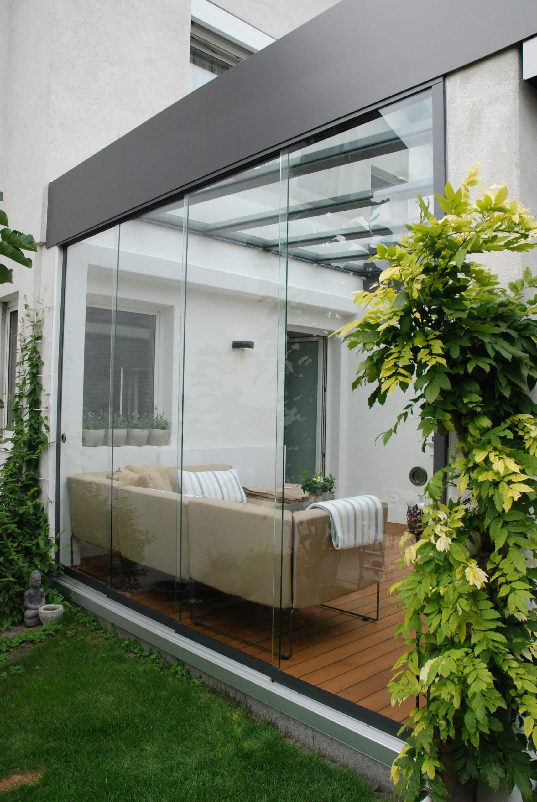 Terrasse Schiebetüren Systeme Mit Dachverglasung Aus Vsg ... intérieur Terrasse Couverte Fermée