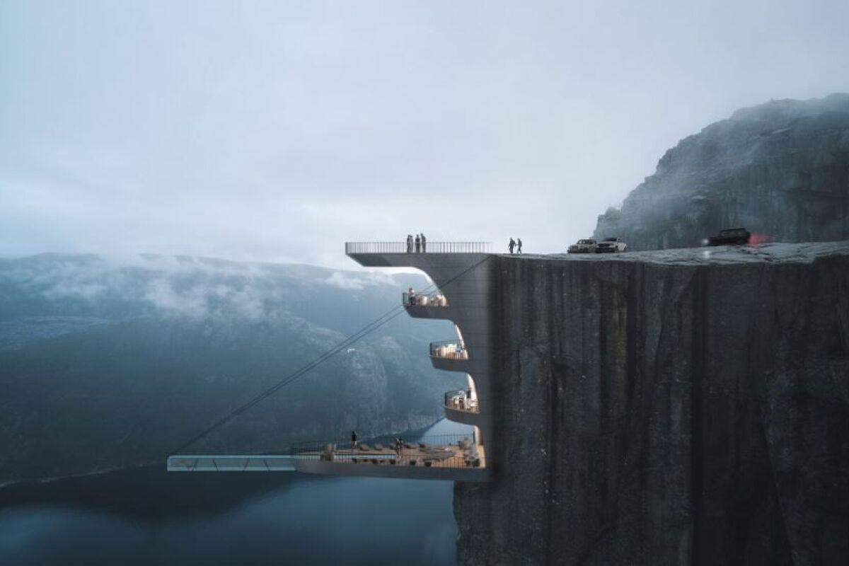 Une Piscine Suspendue À 600M De Hauteur En Norvège - Guide ... intérieur Piscine Suspendue