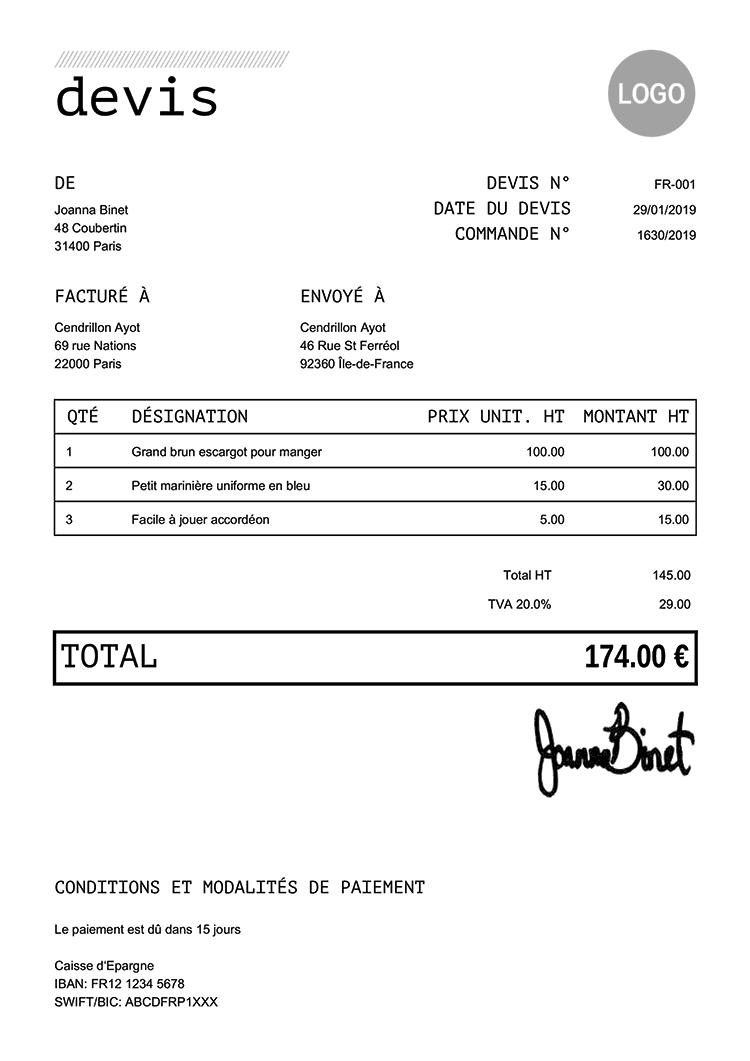 100 Devis Pdf Gratuits | Créez Une Devis, Imprimez-Le à Exemple Facture Paysagiste