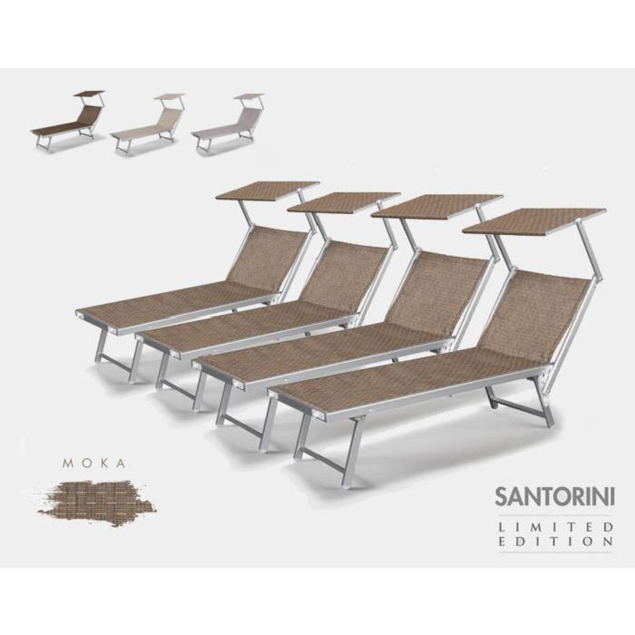 4 Bains De Soleil Lits De Plage Transats Piscine Aluminium Jardin Santorini à Transat Piscine Pas Cher