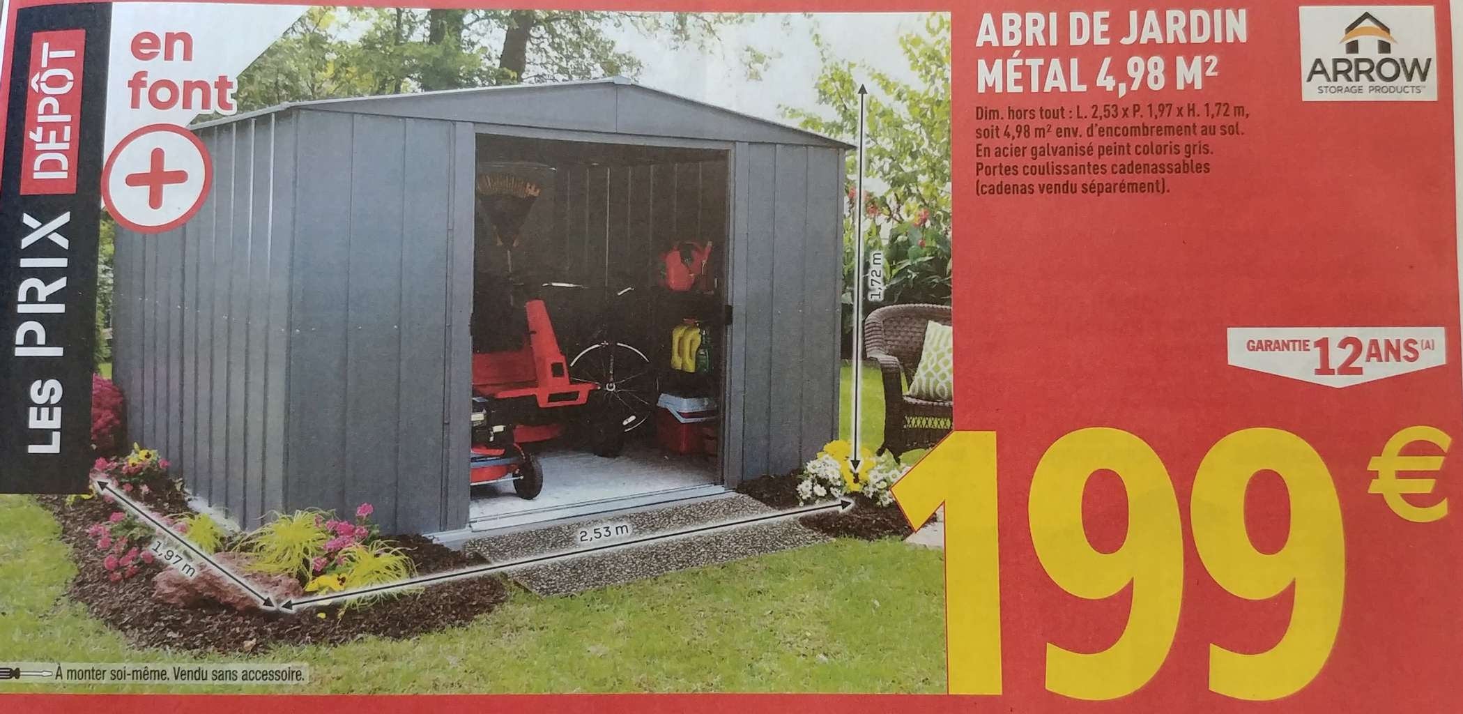 Abri De Jardin Métal Arrow - 4.98M², 2.53 X 1.97 M – Dealabs encequiconcerne Abri De Jardin Arrow 4,98 M2