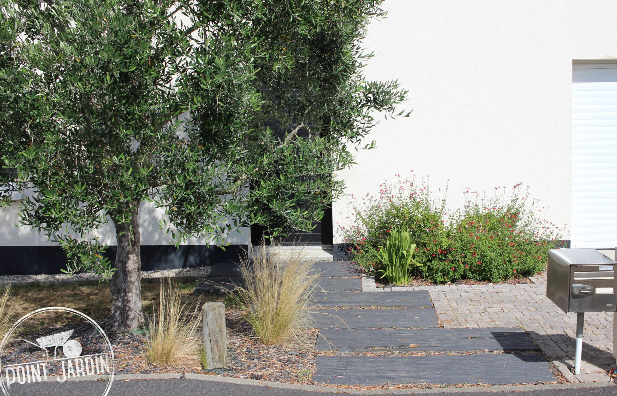 Allee-Entree-Maison-Ardoise - Point Jardin avec Allée Entrée Maison Contemporaine