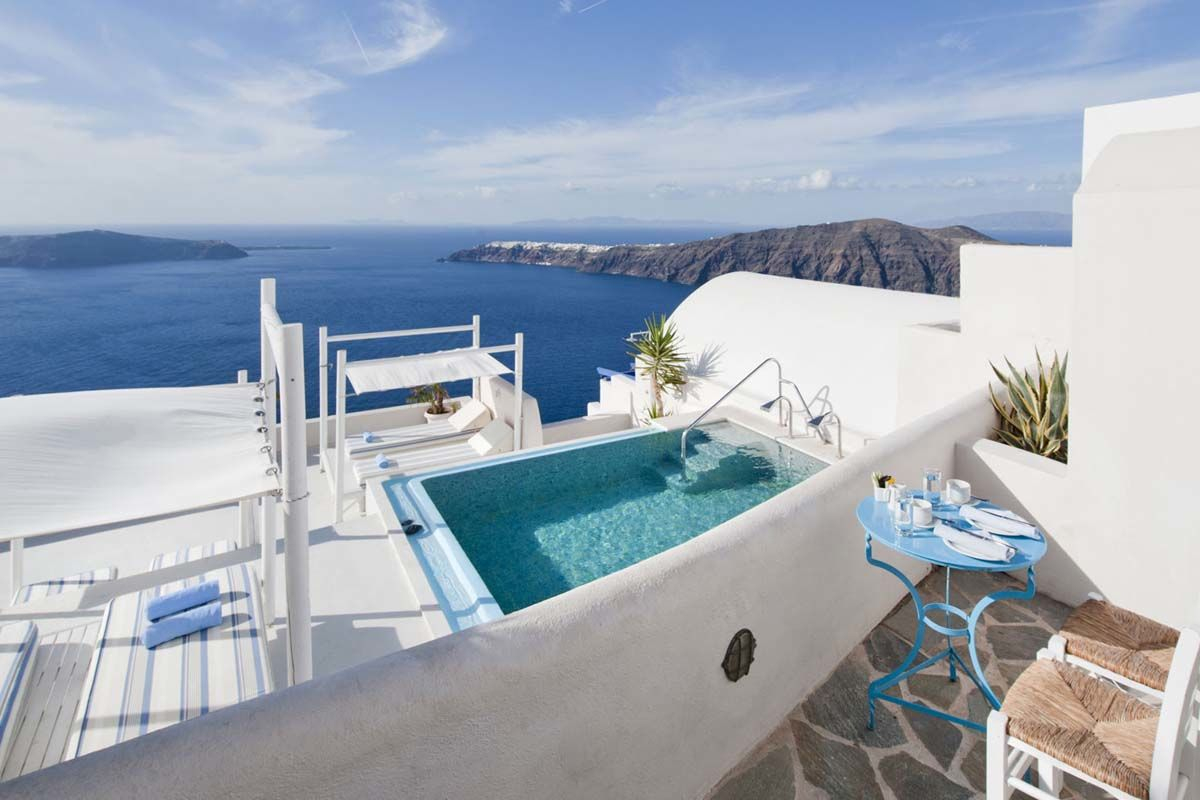 Andromeda Villas Spa Resort 4 Arrivee Santorin Sejour Grece ... avec Hotel Santorin Avec Piscine Privée
