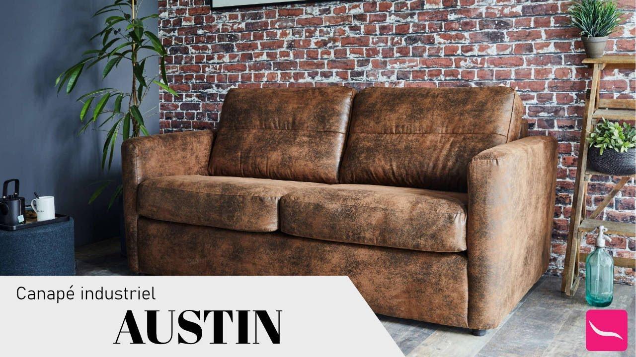 Austin - Canapé 3 Places Convertible Ouverture Express - Couchage Quotidien  - Style Industriel concernant Canapé Austin But