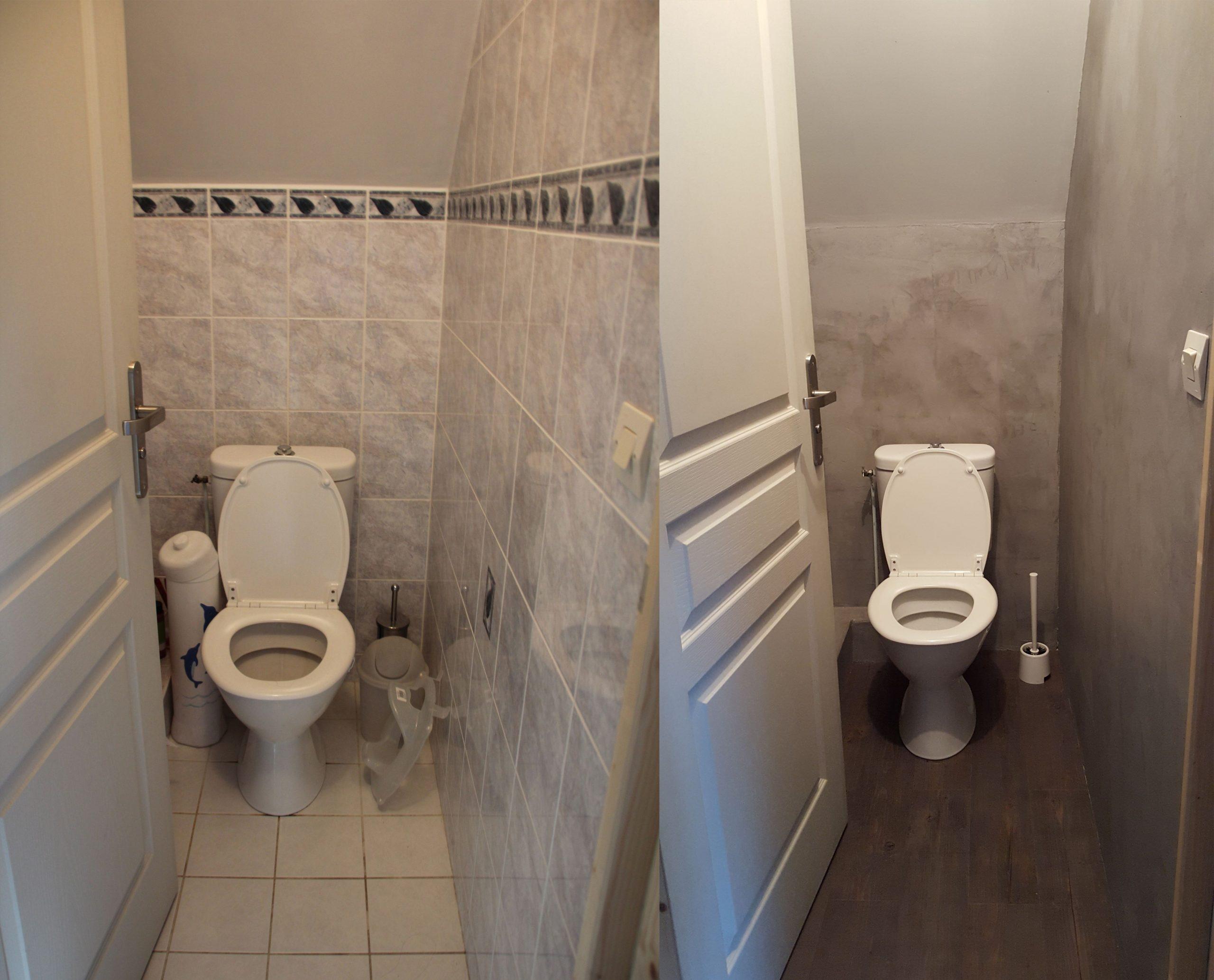 Avant / Après Wc Toilettes Design Moderne Béton Rénovation ... dedans Recouvrir Carrelage Wc
