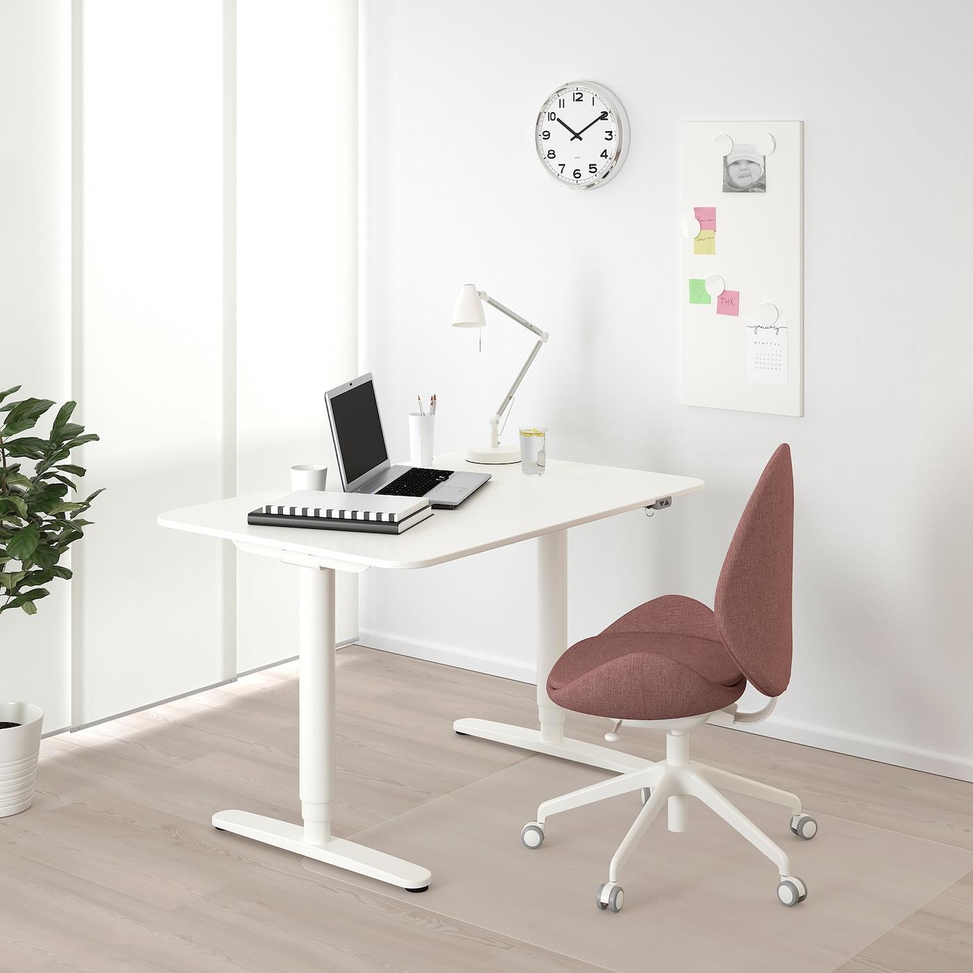 Bekant Bureau Assis/Debout - Blanc 120X80 Cm pour Bureau Assis Debout Conforama