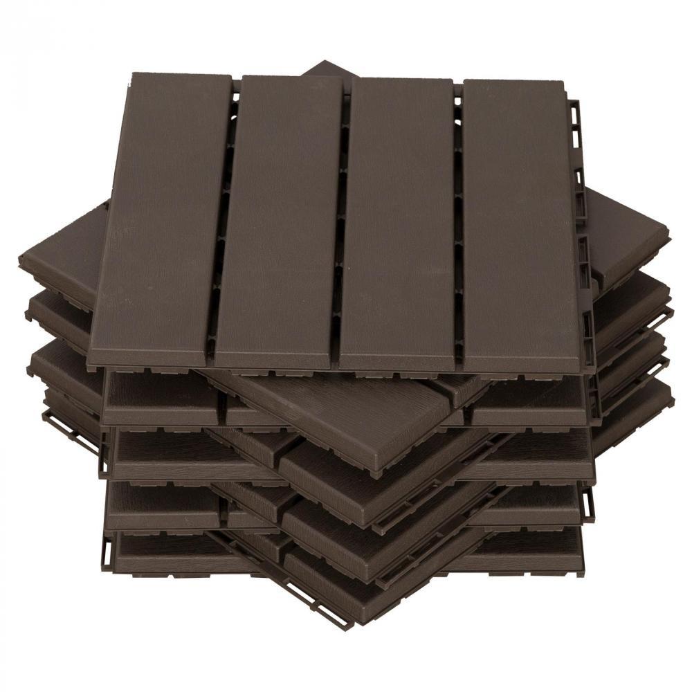 Caillebotis - Dalles Terrasse - Lot De 9 - Emboîtables, Installation Très  Simple - Petits Carreaux Composite Plastique Imitation Bois Chocolat avec Caillebotis Gifi
