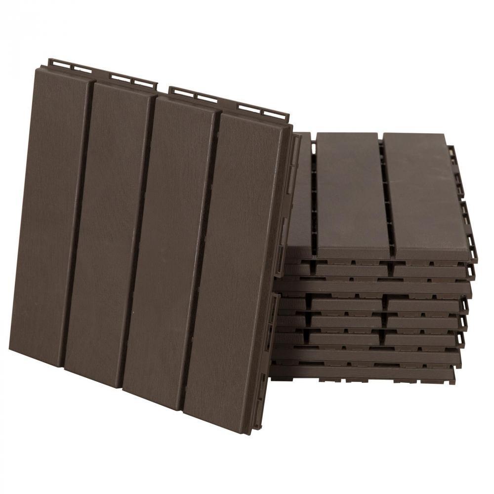 Caillebotis - Dalles Terrasse - Lot De 9 - Emboîtables, Installation Très  Simple - Petits Carreaux Composite Plastique Imitation Bois Chocolat intérieur Caillebotis Gifi