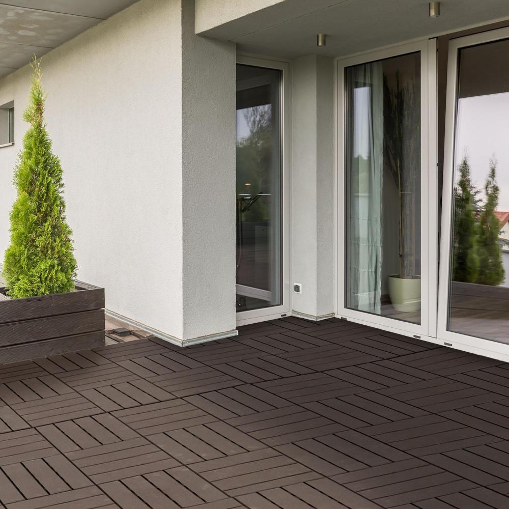 Caillebotis - Dalles Terrasse - Lot De 9 - Emboîtables, Installation Très  Simple - Petits Carreaux Composite Plastique Imitation Bois Chocolat pour Caillebotis Gifi