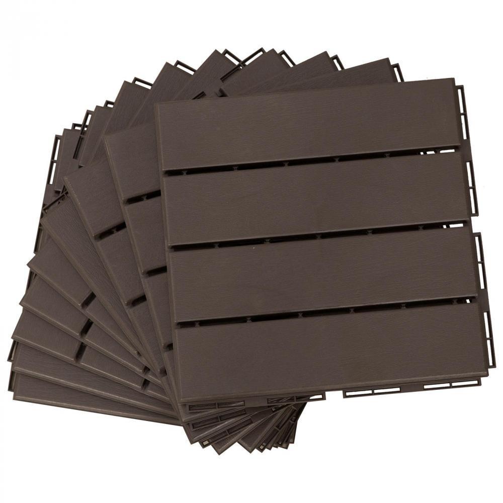 Caillebotis - Dalles Terrasse - Lot De 9 - Emboîtables, Installation Très  Simple - Petits Carreaux Composite Plastique Imitation Bois Chocolat serapportantà Caillebotis Gifi