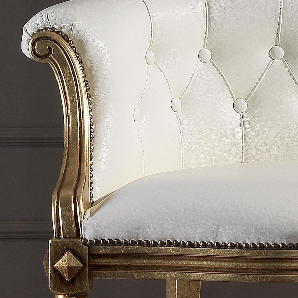 Canapé 2 Places En Cuir Blanc Classique, Fait En Italie, Casanova destiné Casanova Canapé Italien