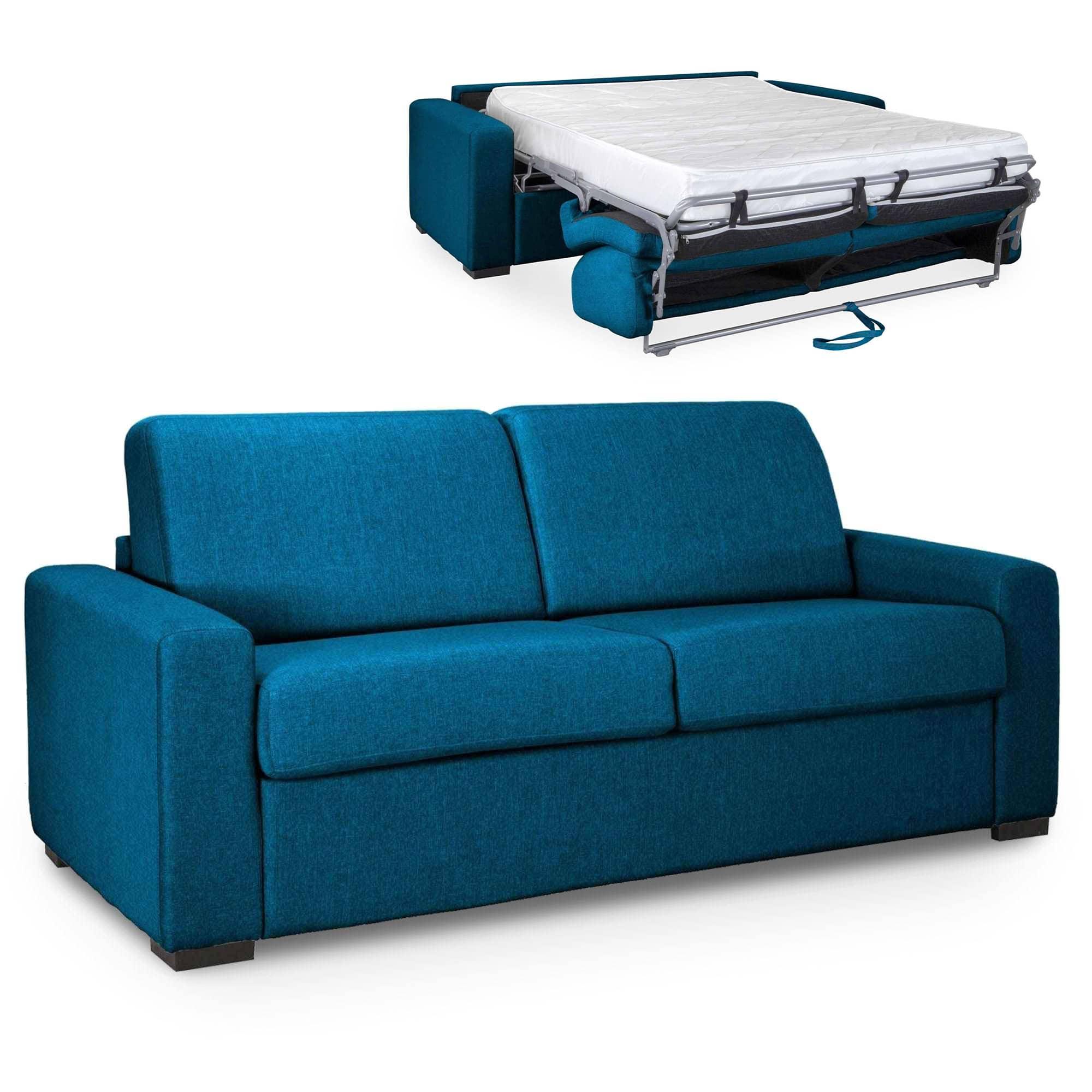 Canapé Convertible 3 Places Louna Luxe En Tissu Bleu Pétrole Ouverture  Express Matelas 18 Cm intérieur Canape Tissus Luxe