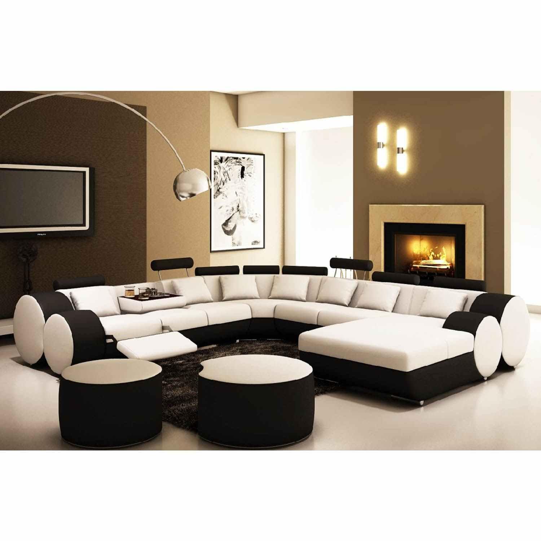 Canapé D'Angle Panoramique Design En Cuir Blanc Et Noir Relax Roma à Canape D'Angle 8 10 Places