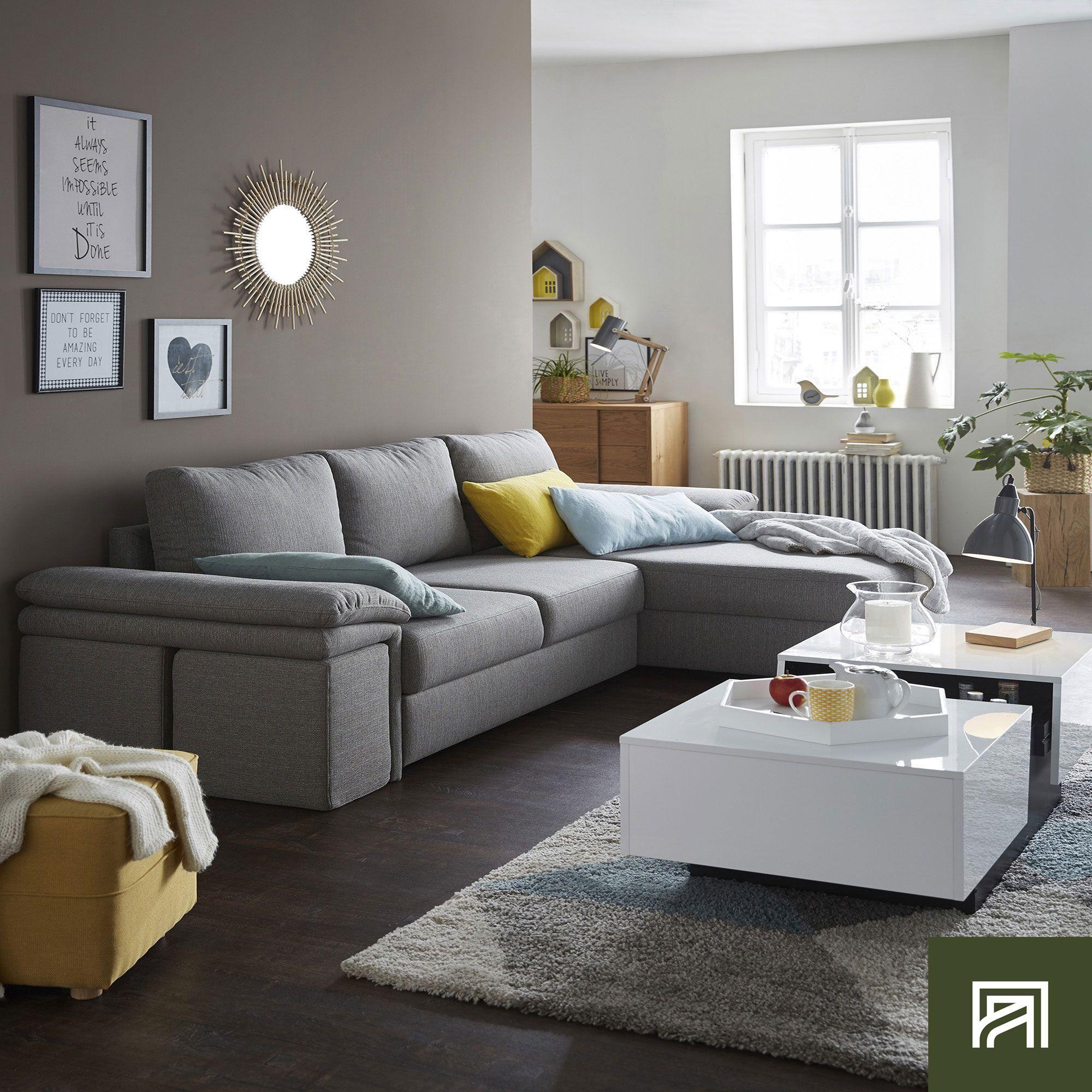 Canapé D'Angle Réversible Convertible En Tissu Gris Clair Et ... pour Canape Oslo Alinea
