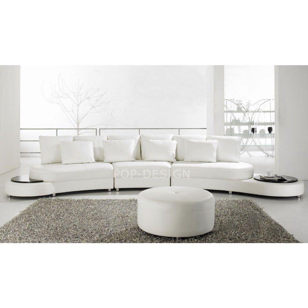 Canapé Design Demi Lune En Cuir Foggia | White Leather Sofas ... pour Canapé Rond Ou Demi Lune
