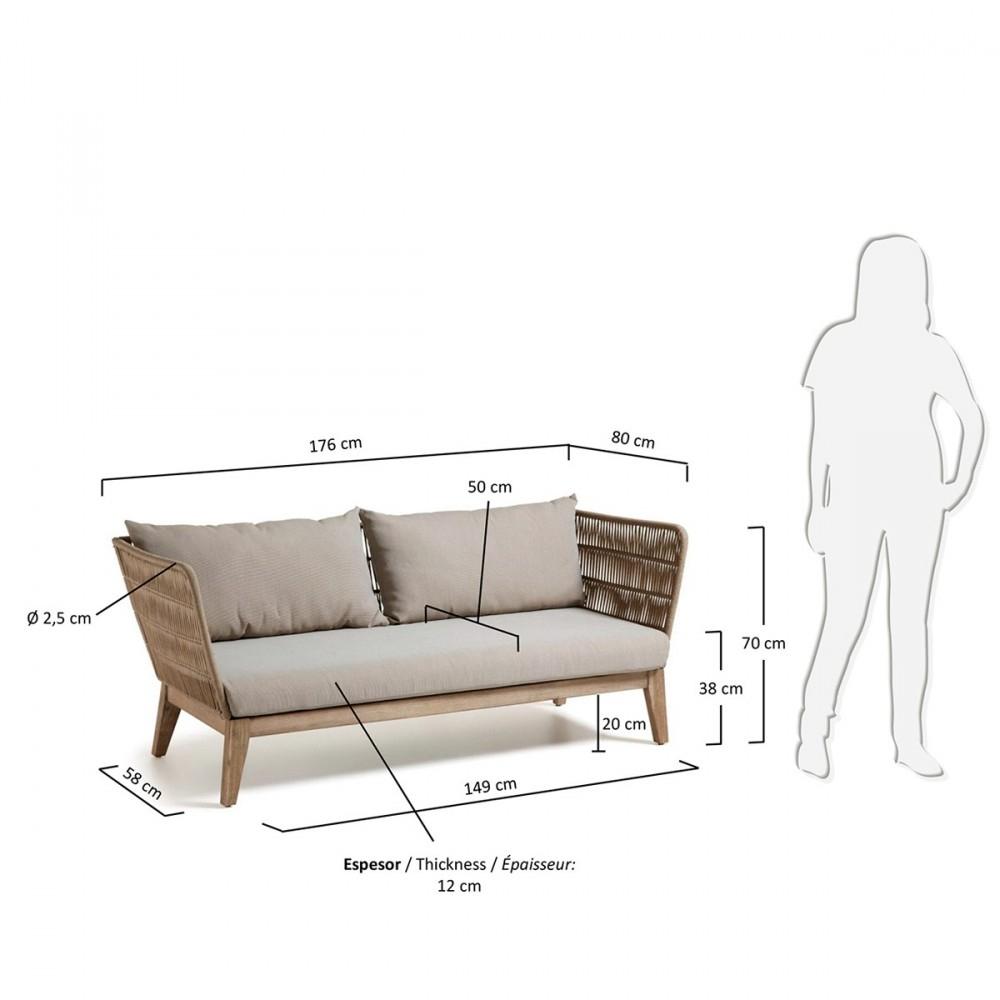 Canapé Indoor/Outdoor 3 Places En Bois Et Corde - Belleny avec Canapé Profondeur 80 Cm