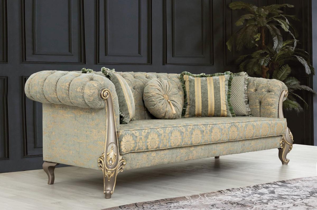 Casa Padrino Canapé Baroque De Luxe Vert / Or / Gris / Or 225 X 108 X H. 80  Cm - Canapé De Salon De Style Baroque Magnifique Avec Motif Élégant - ... dedans Canapé Profondeur 80 Cm