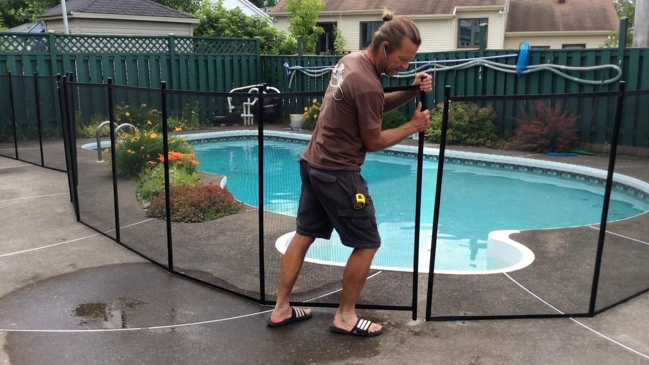 Clôtures Amovibles Poolguard: Enlever Et Remettre Une Section intérieur Barriere Amovible Piscine