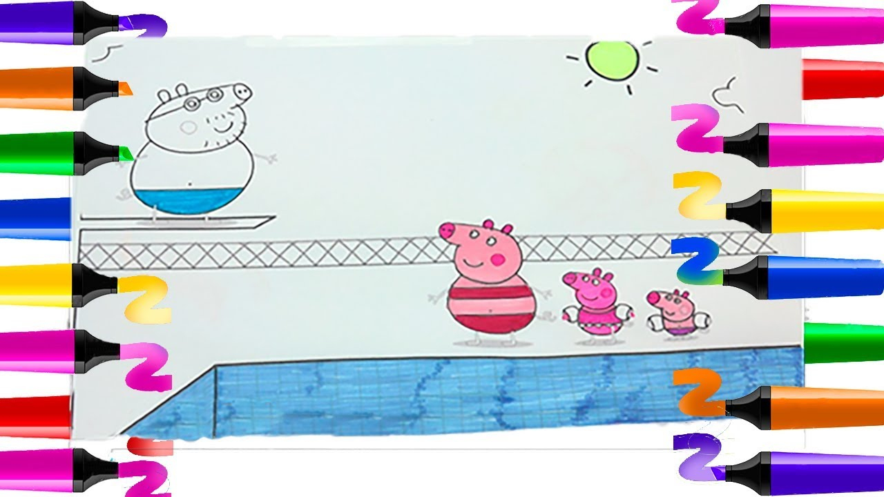 Coloriage Peppa Pig   Coloriage Papa Pig À La Piscine   Coloriage Peppa Pig  Coloriage Peppa Cochon pour Jeux De Peppa Pig A La Piscine