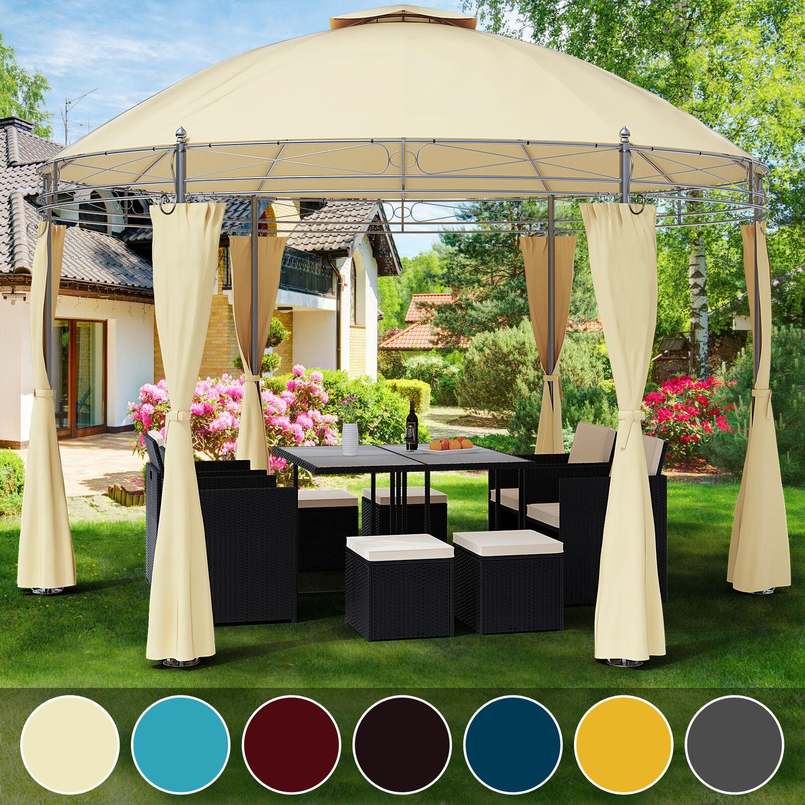 Détails Sur Tonnelle Toscana Ø 3,5 M - Pavillon - Tente De Jardin - Barnum  Rond Jardin intérieur Toile De Toit De Rechange Pour Tonnelle Ronde