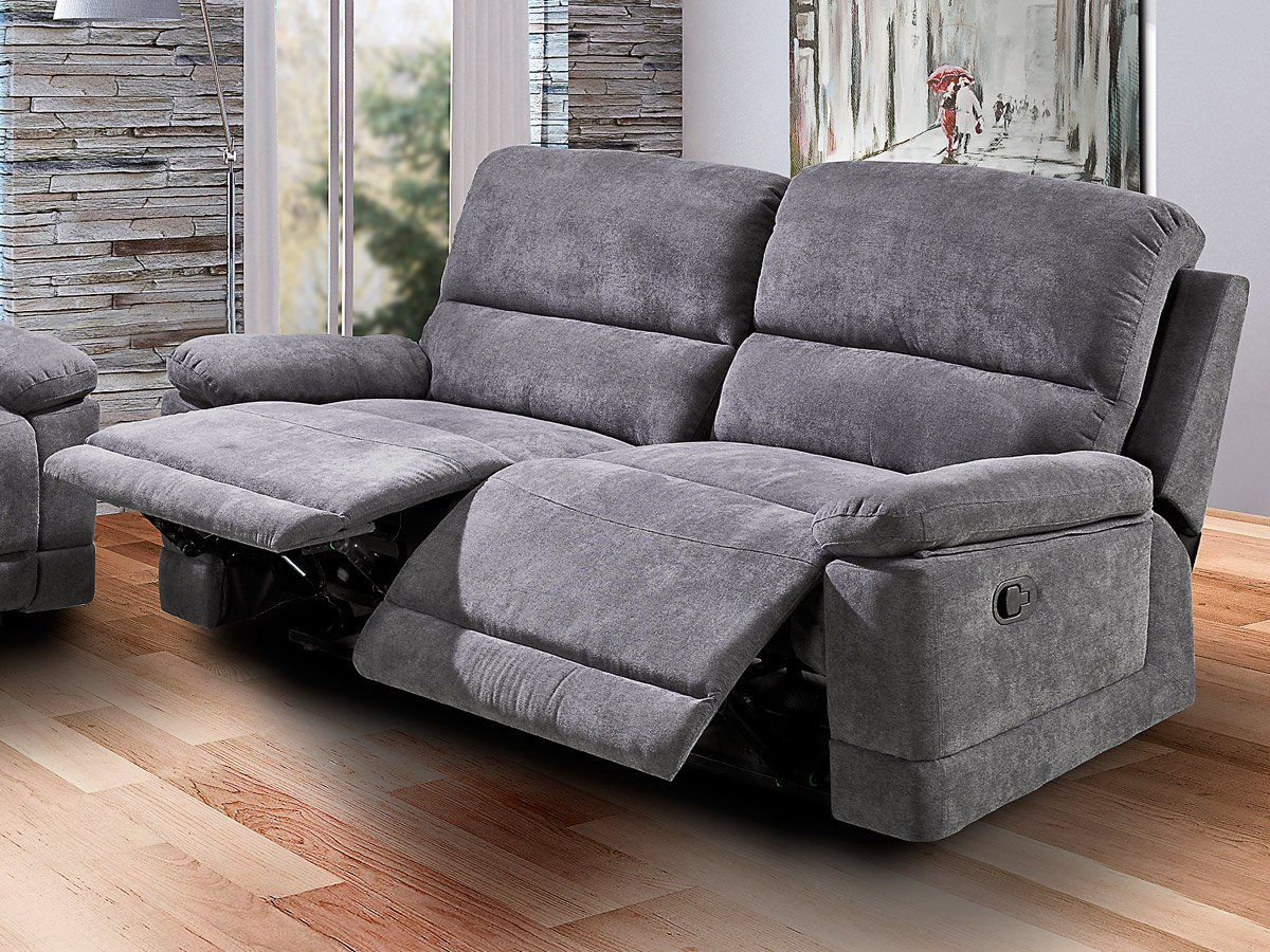 Einzelsofa 3-Sitzer Grau 203 Cm Relaxfunktion Sofa - Lorenzo concernant Canapé Mobel Fundgrube