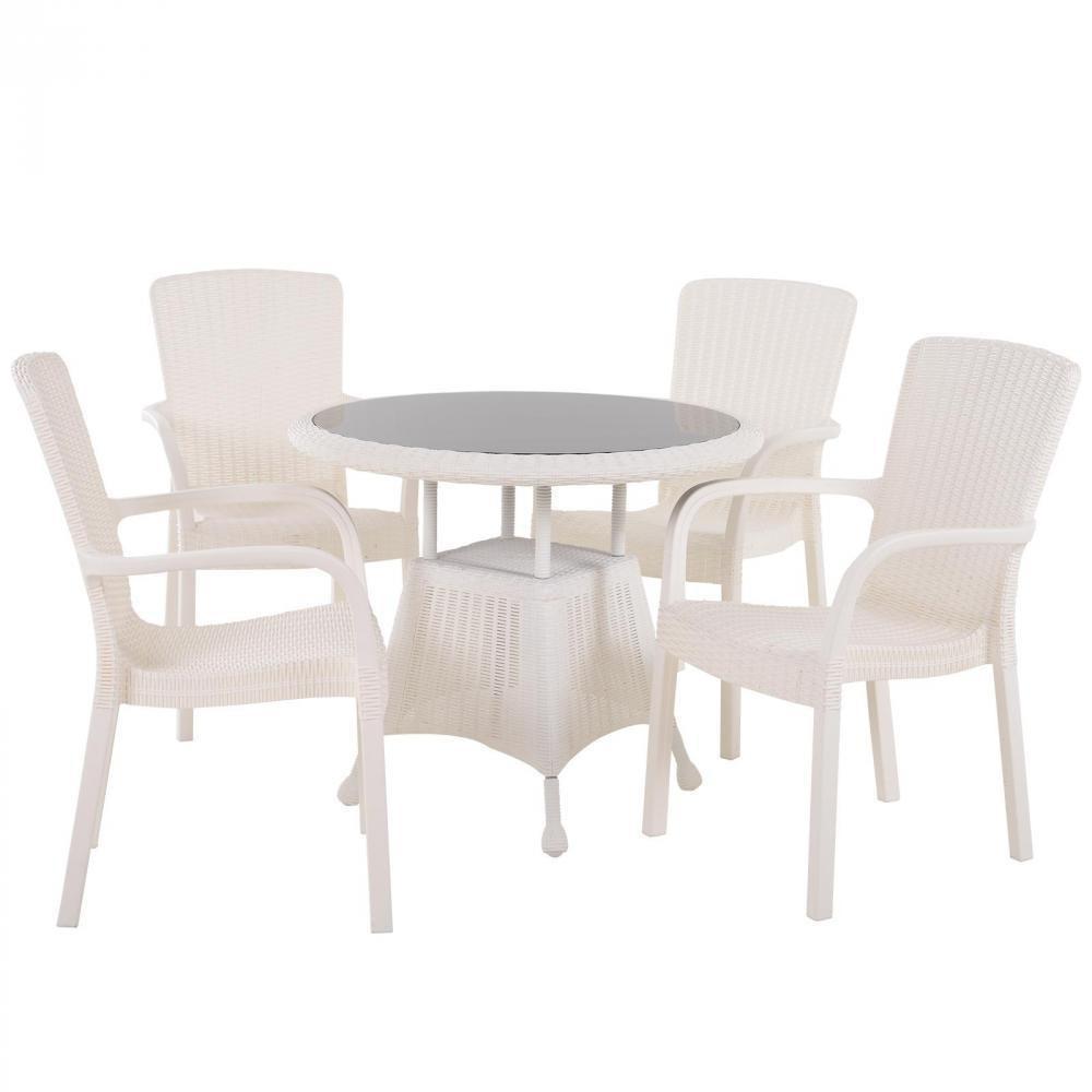 Ensemble De Jardin 4 Pers. Ensemble Bistrot Style Cosy Table Plateau Verre  Trempé 4 Fauteuils Plastique Pp Imitation Rotin Blanc destiné Chaise De Jardin Gifi