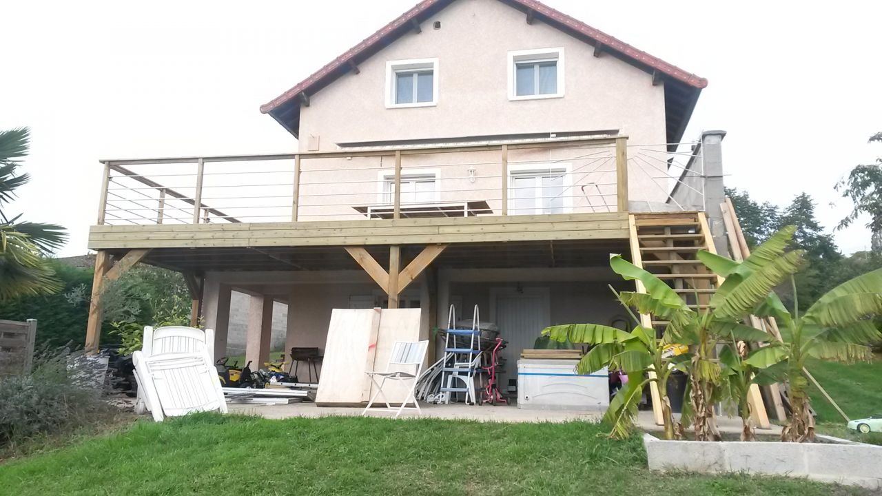 Extension En Bois D'Un Balcon Béton , Roanne (Loire) concernant Agrandir Un Balcon Existant