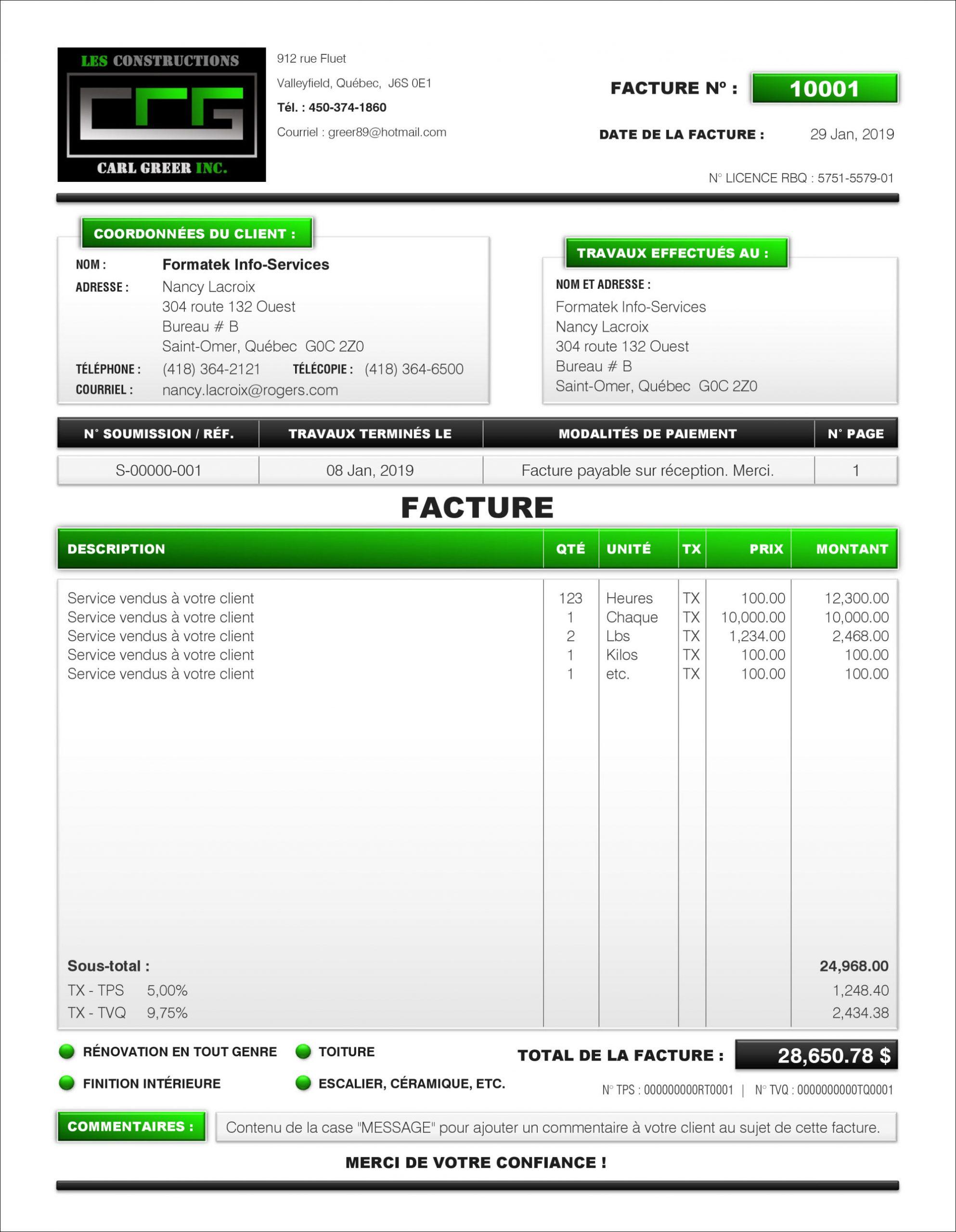 Facture - Pdf Dynamique (Interactif) - Création Et ... concernant Exemple Facture Paysagiste
