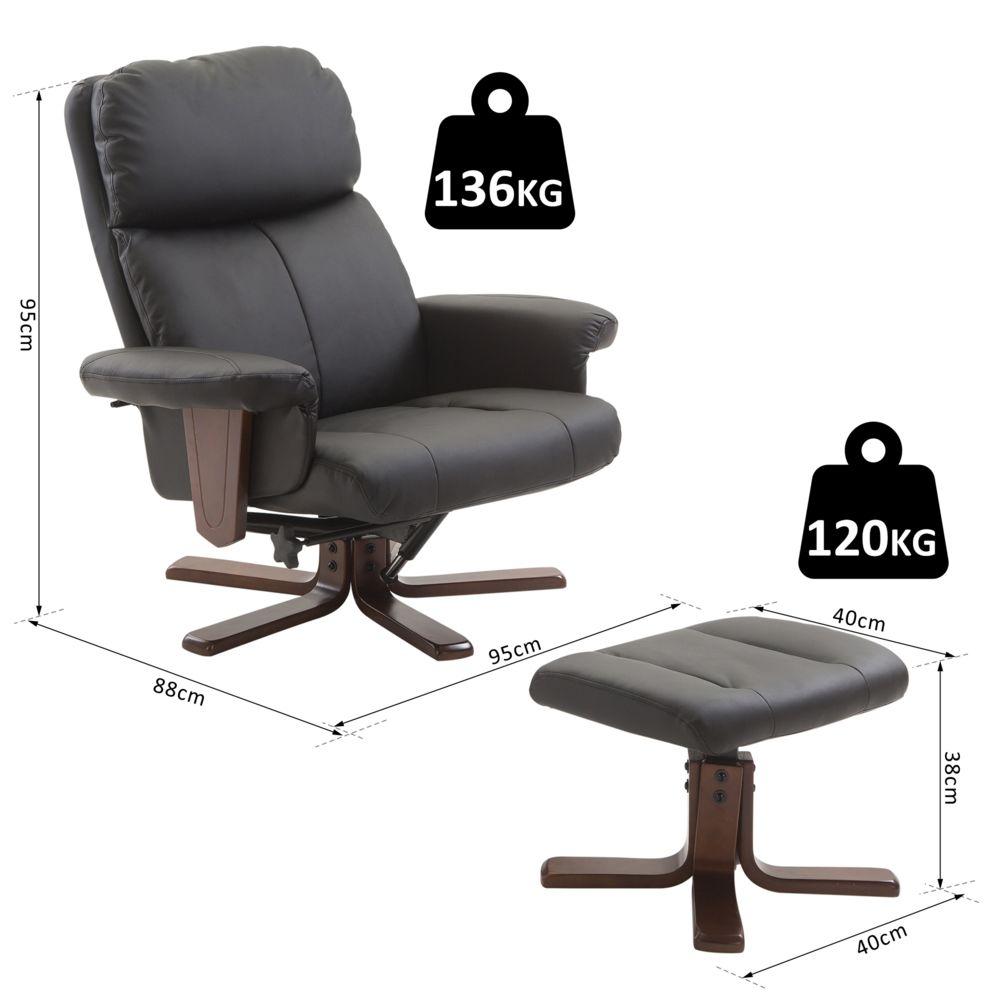 Homcom - Fauteuil Relax Style Contemporain Grand Confort ... destiné Fauteuil De Bureau Pivotant En Cuir Noir Et Bois
