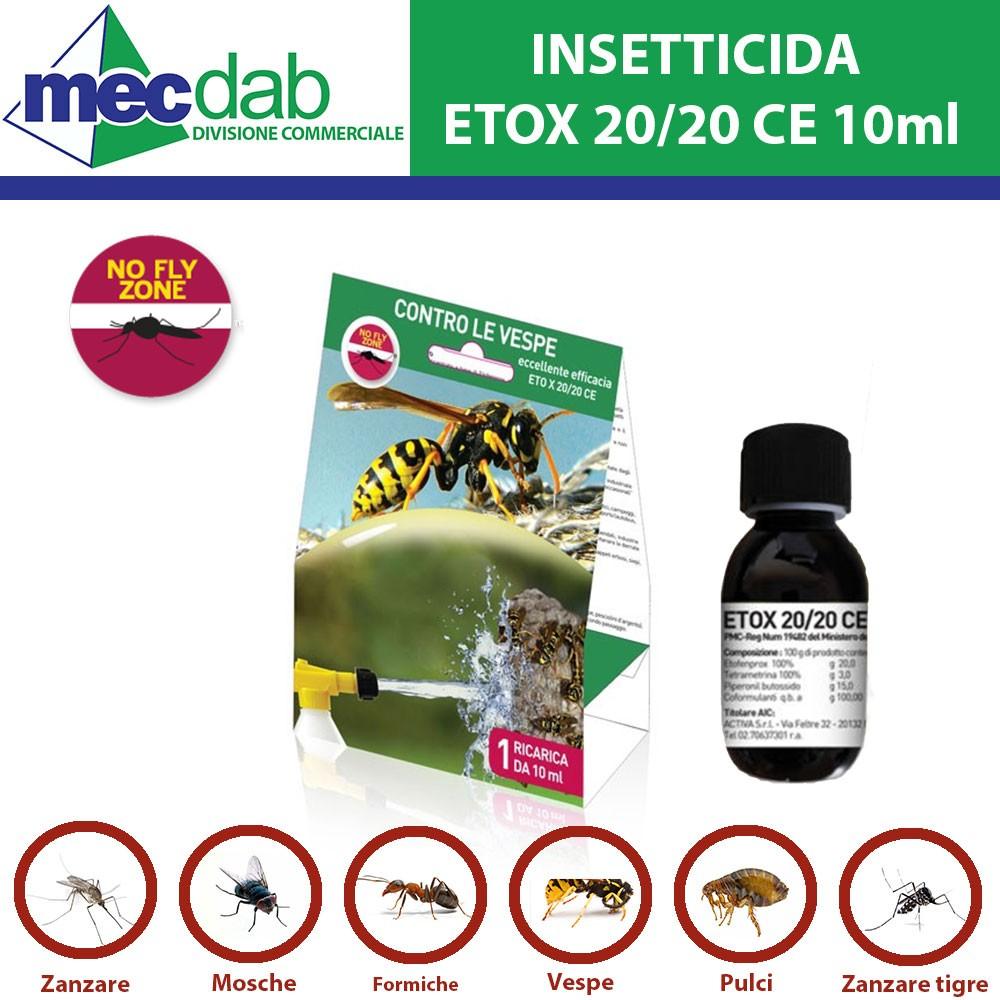 Insetticida Etox 20/20 Ce Ricarica Da 10Ml Contro Le Vespe E Insetti  Striscianti E Volanti No Fly Zone tout Etox 20/20 Ce