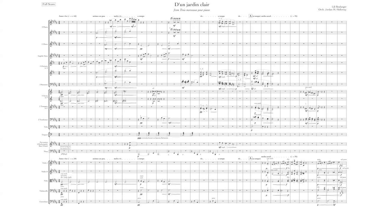 Lili Boulanger - D'Un Jardin Clair - Orchestration avec D'Un Jardin Claire