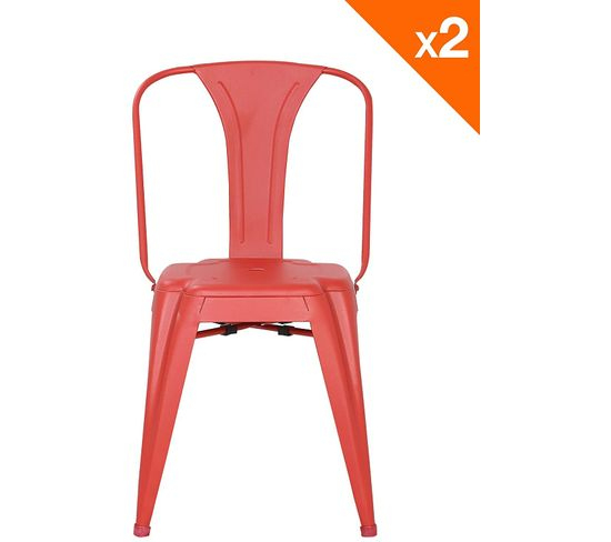 Lot De 2 Chaises Industrielles Bistrot Brook (Rouge) avec But Chaise Bistrot