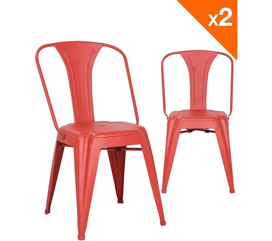 Lot De 2 Chaises Industrielles Bistrot Brook (Rouge) encequiconcerne But Chaise Bistrot