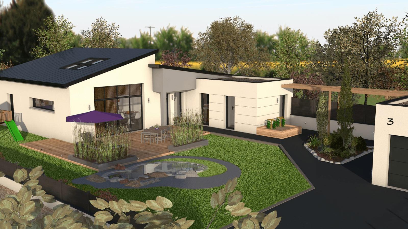 Maison Plain-Pied Contemporaine - Inspiration - Les Maisons ... avec Aménagement Extérieur Maison Plain Pied