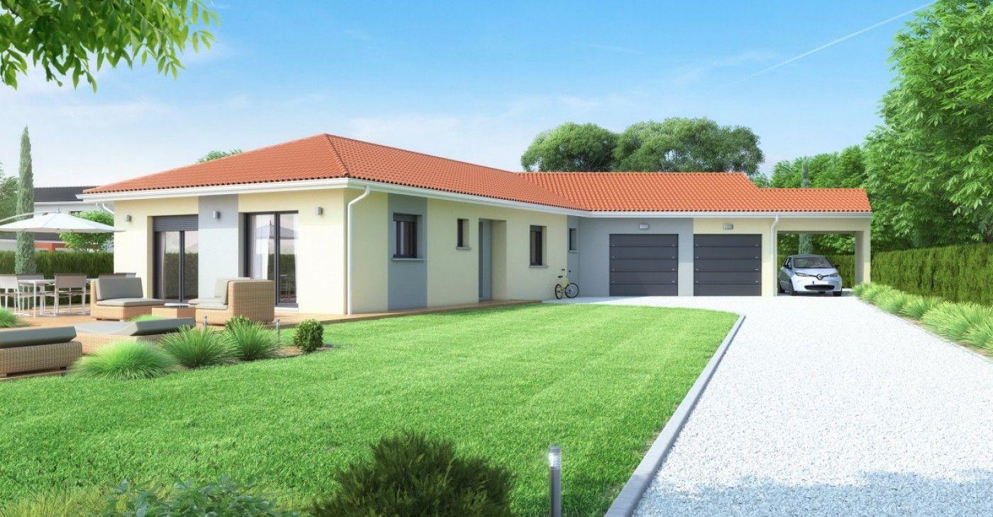 Maison Plain-Pied, Garage Double Et Carport | Maison Plain ... serapportantà Aménagement Extérieur Maison Plain Pied