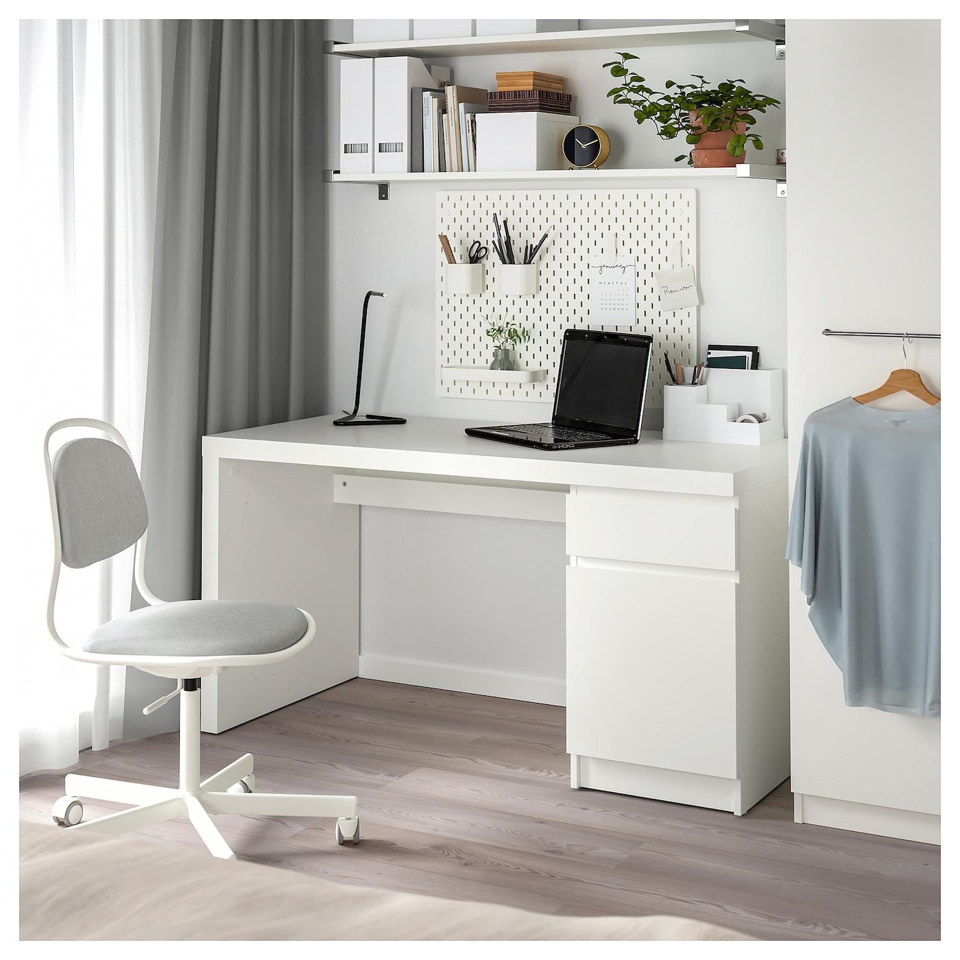 Malm Bureau - Wit 140X65 Cm intérieur Ikea Maroc Bureau
