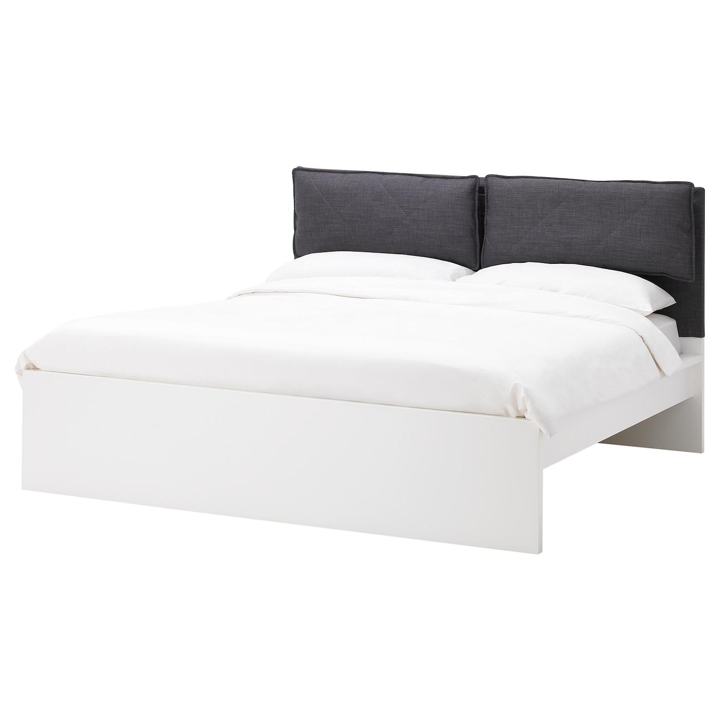 Malm Housse Tête De Lit Avec 2 Oreillers - Skiftebo Gris Foncé 140 Cm destiné Coussins Tête De Lit Ikea