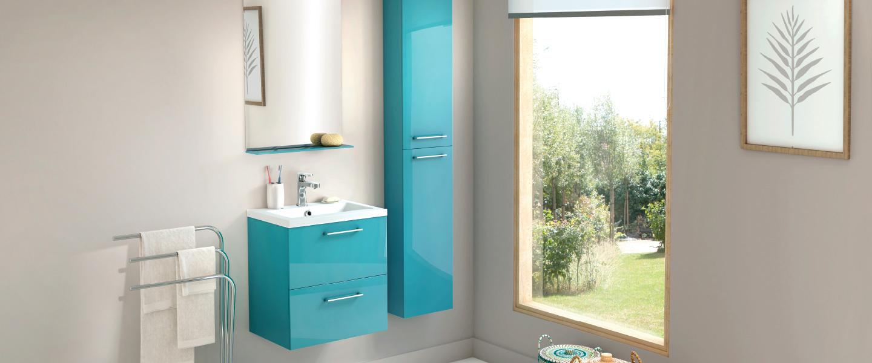 """Meuble """"Slim"""" Turquoise L.50 Cm + Le Plan Vasque intérieur Pompe Piscine Brico Depot"""
